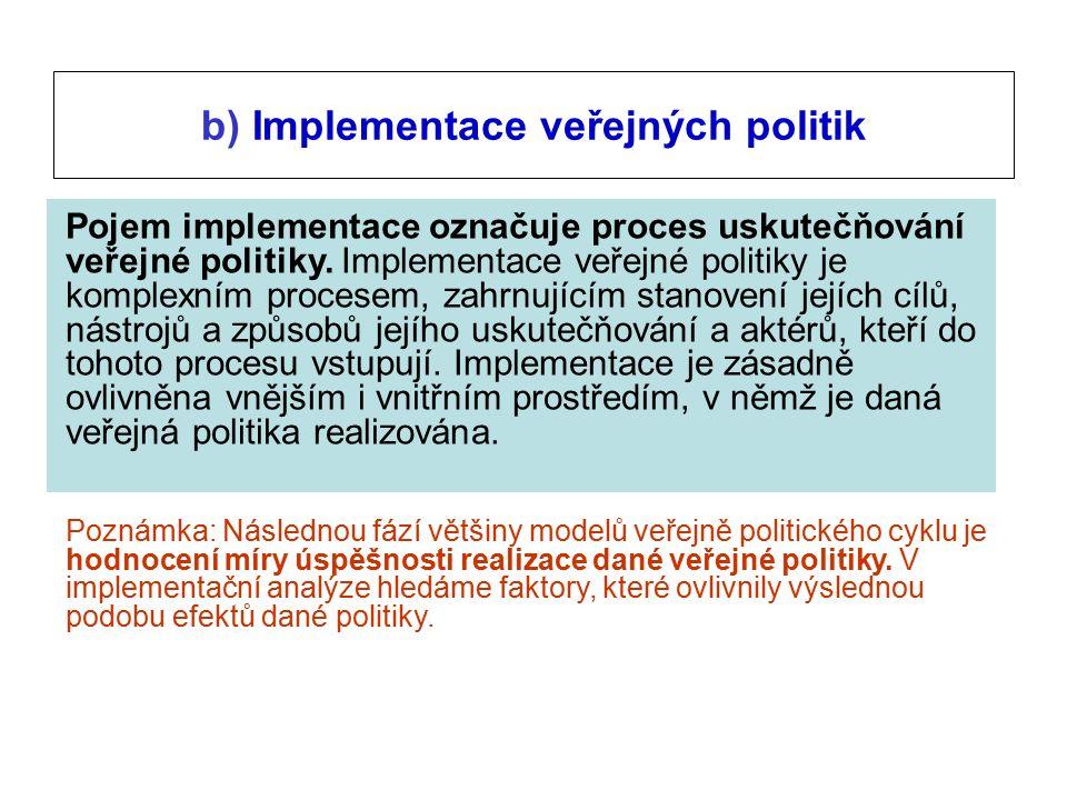Pojem implementace označuje proces uskutečňování veřejné politiky.