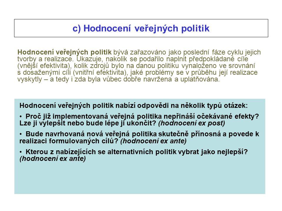 c) Hodnocení veřejných politik Hodnocení veřejných politik bývá zařazováno jako poslední fáze cyklu jejich tvorby a realizace.