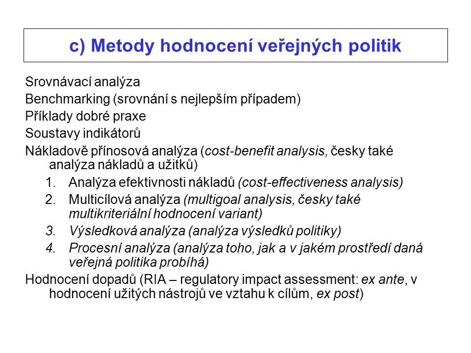 c) Metody hodnocení veřejných politik Srovnávací analýza Benchmarking (srovnání s nejlepším případem) Příklady dobré praxe Soustavy indikátorů Nákladově přínosová analýza (cost-benefit analysis, česky také analýza nákladů a užitků) 1.Analýza efektivnosti nákladů (cost-effectiveness analysis) 2.Multicílová analýza (multigoal analysis, česky také multikriteriální hodnocení variant) 3.Výsledková analýza (analýza výsledků politiky) 4.Procesní analýza (analýza toho, jak a v jakém prostředí daná veřejná politika probíhá) Hodnocení dopadů (RIA – regulatory impact assessment: ex ante, v hodnocení užitých nástrojů ve vztahu k cílům, ex post)