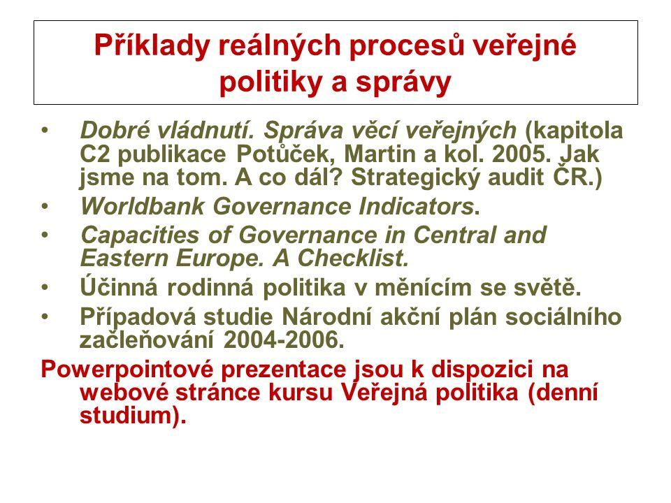 Příklady reálných procesů veřejné politiky a správy Dobré vládnutí.
