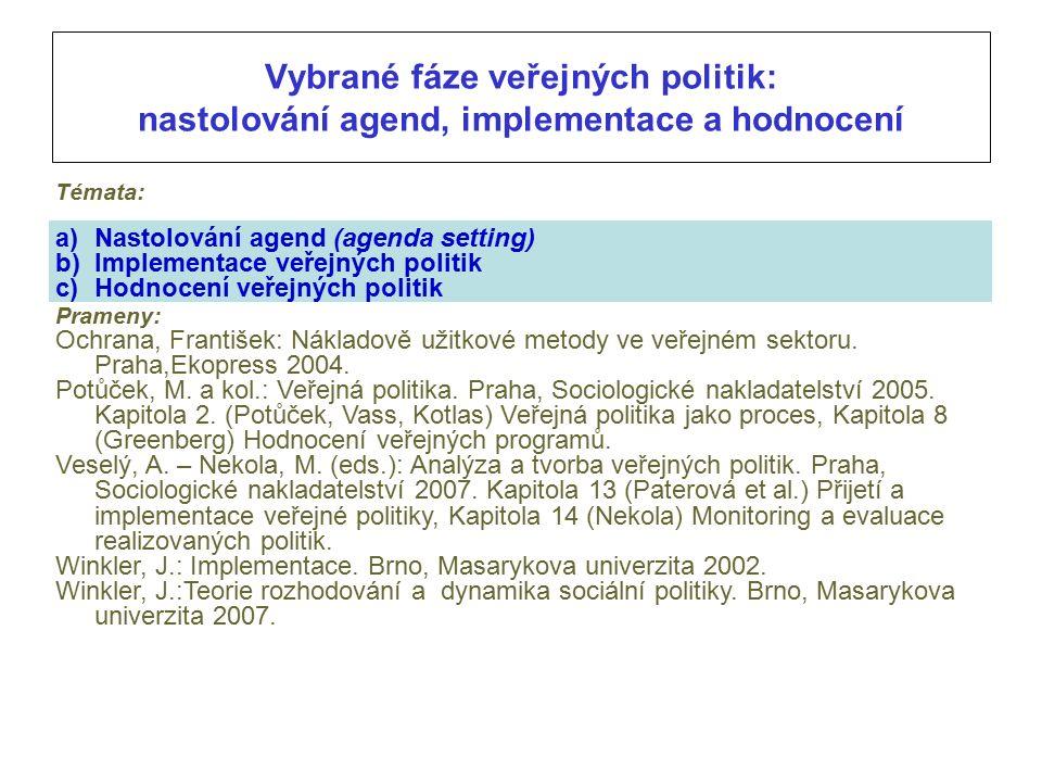 Vybrané fáze veřejných politik: nastolování agend, implementace a hodnocení Témata: a)Nastolování agend (agenda setting) b)Implementace veřejných politik c)Hodnocení veřejných politik Prameny: Ochrana, František: Nákladově užitkové metody ve veřejném sektoru.