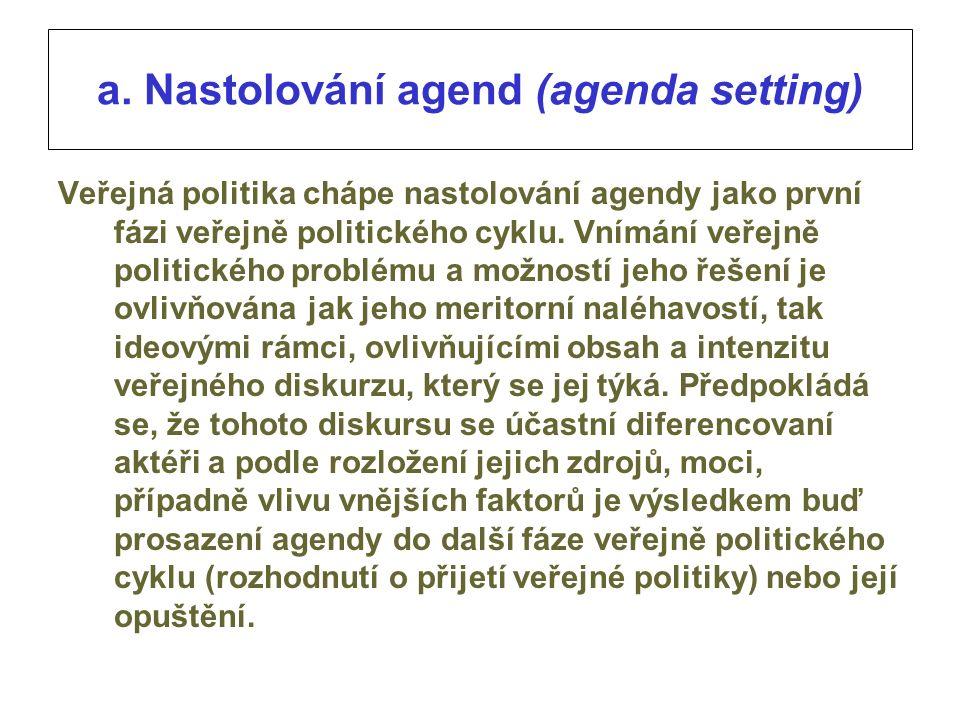 a. Nastolování agend (agenda setting) Veřejná politika chápe nastolování agendy jako první fázi veřejně politického cyklu. Vnímání veřejně politického