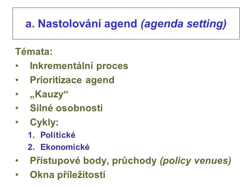 """a. Nastolování agend (agenda setting) Témata: Inkrementální proces Prioritizace agend """"Kauzy"""" Silné osobnosti Cykly: 1.Politické 2.Ekonomické Přístupo"""