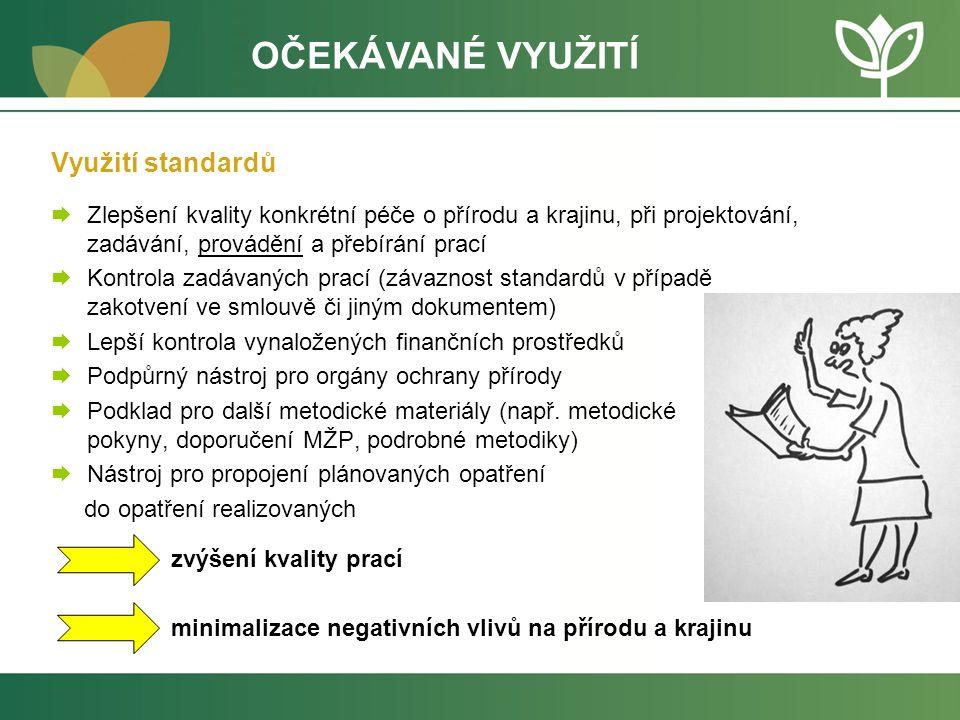 Využití standardů  Zlepšení kvality konkrétní péče o přírodu a krajinu, při projektování, zadávání, provádění a přebírání prací  Kontrola zadávaných prací (závaznost standardů v případě zakotvení ve smlouvě či jiným dokumentem)  Lepší kontrola vynaložených finančních prostředků  Podpůrný nástroj pro orgány ochrany přírody  Podklad pro další metodické materiály (např.