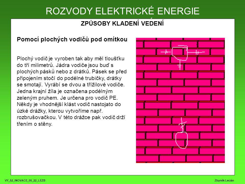 VY_52_INOVACE_05_22_LEZB Zbyněk Lecián ROZVODY ELEKTRICKÉ ENERGIE ZPŮSOBY KLADENÍ VEDENÍ ROZVODY ELEKTRICKÉ ENERGIE Pomocí plochých vodičů pod omítkou Plochý vodič je vyroben tak aby měl tloušťku do tří milimetrů.