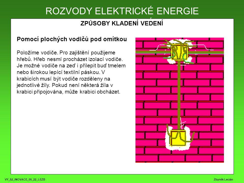 VY_52_INOVACE_05_22_LEZB Zbyněk Lecián ROZVODY ELEKTRICKÉ ENERGIE ZPŮSOBY KLADENÍ VEDENÍ ROZVODY ELEKTRICKÉ ENERGIE Pomocí plochých vodičů pod omítkou Položíme vodiče.