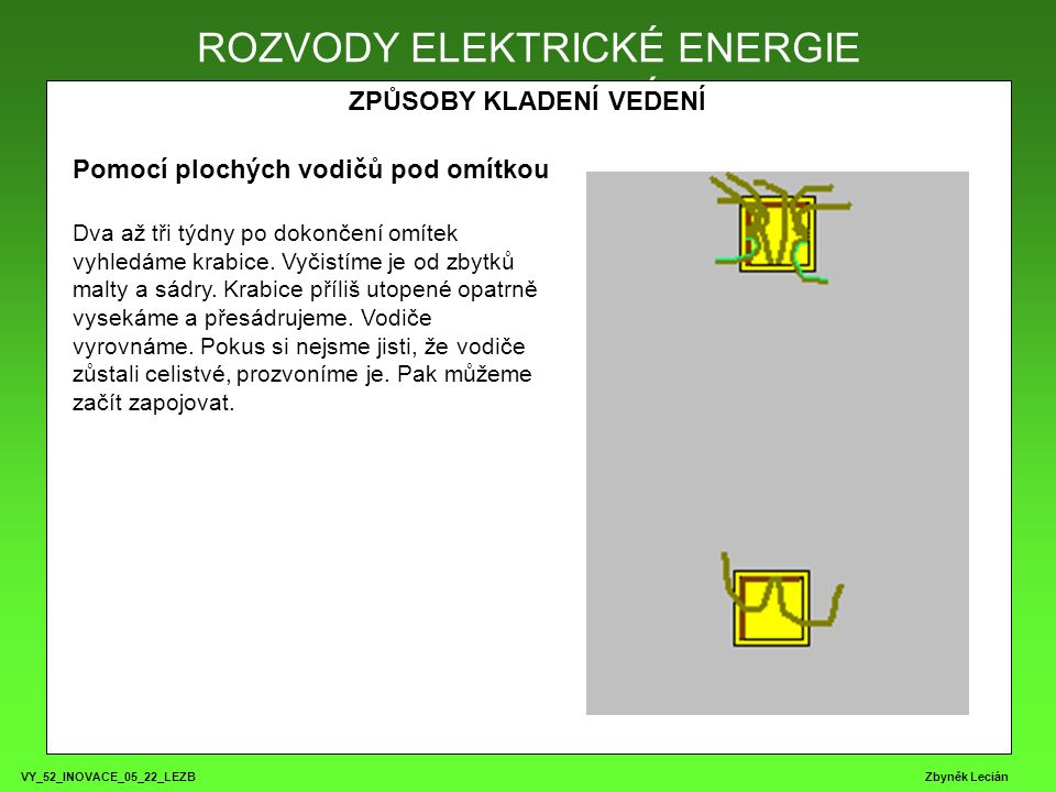 VY_52_INOVACE_05_22_LEZB Zbyněk Lecián ROZVODY ELEKTRICKÉ ENERGIE ZPŮSOBY KLADENÍ VEDENÍ ROZVODY ELEKTRICKÉ ENERGIE Pomocí plochých vodičů pod omítkou Dva až tři týdny po dokončení omítek vyhledáme krabice.