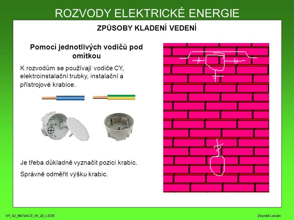 VY_52_INOVACE_05_22_LEZB Zbyněk Lecián ROZVODY ELEKTRICKÉ ENERGIE ZPŮSOBY KLADENÍ VEDENÍ ROZVODY ELEKTRICKÉ ENERGIE Pomocí jednotlivých vodičů pod omítkou K rozvodům se používají vodiče CY, elektroinstalační trubky, instalační a přístrojové krabice.