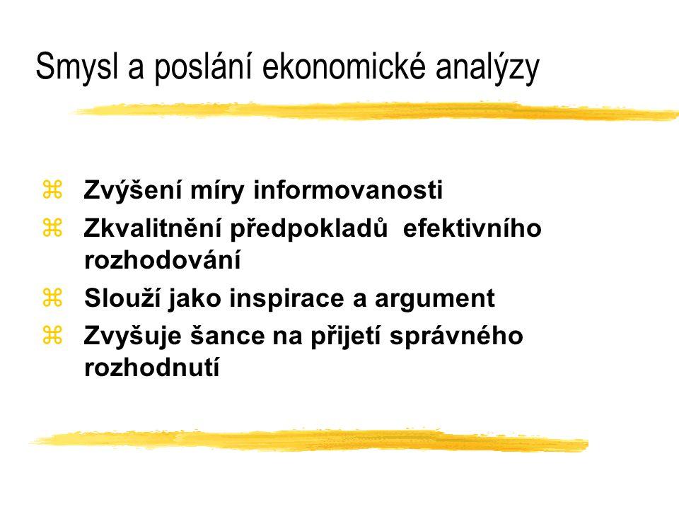 Smysl a poslání ekonomické analýzy zZvýšení míry informovanosti zZkvalitnění předpokladů efektivního rozhodování zSlouží jako inspirace a argument zZv