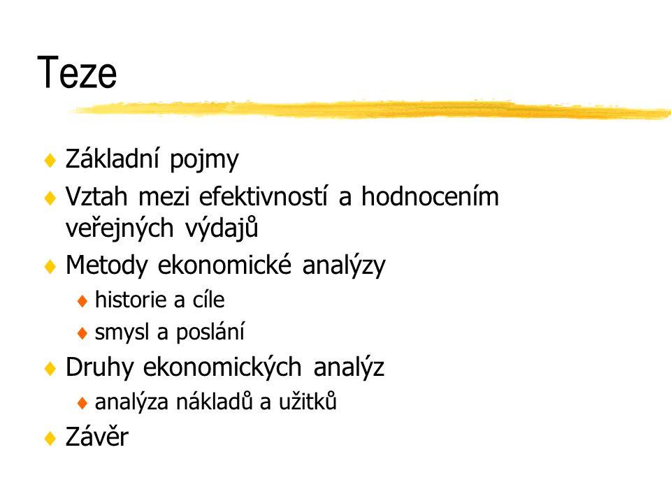 Druhy ekonomických analýz Pramen: Ochrana, F.: Hodnocení veřejných zakázek a veřejných projektů, str.43