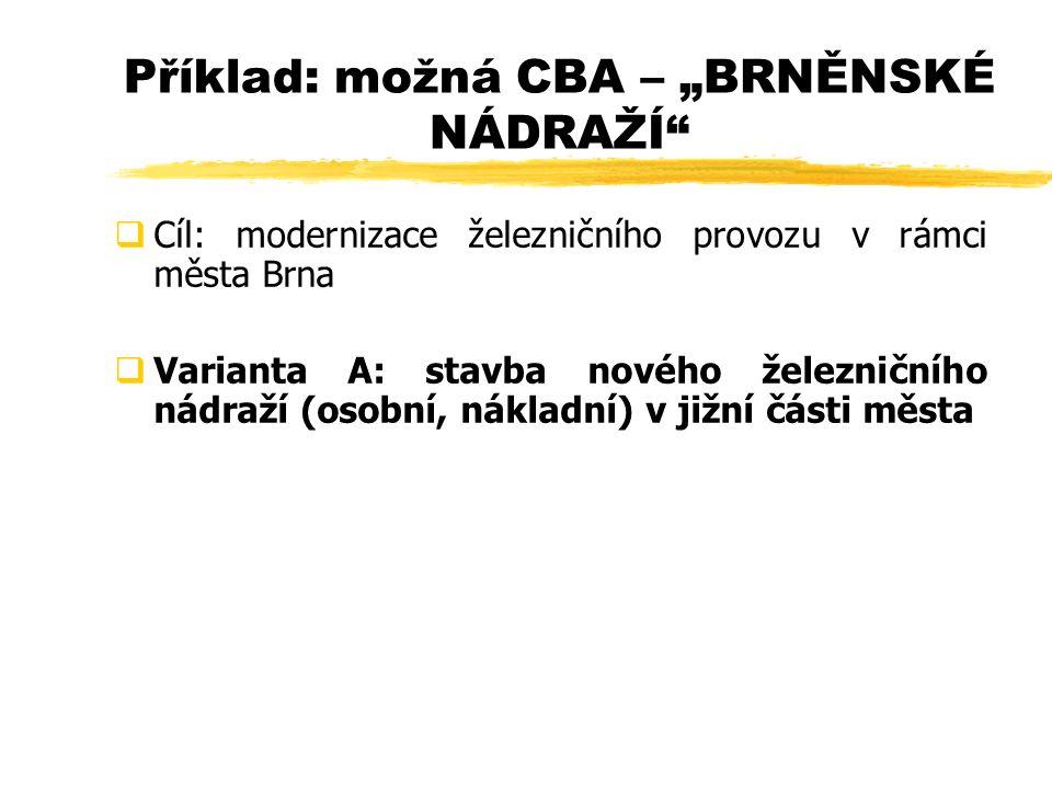 """ Cíl: modernizace železničního provozu v rámci města Brna  Varianta A: stavba nového železničního nádraží (osobní, nákladní) v jižní části města Příklad: možná CBA – """"BRNĚNSKÉ NÁDRAŽÍ"""