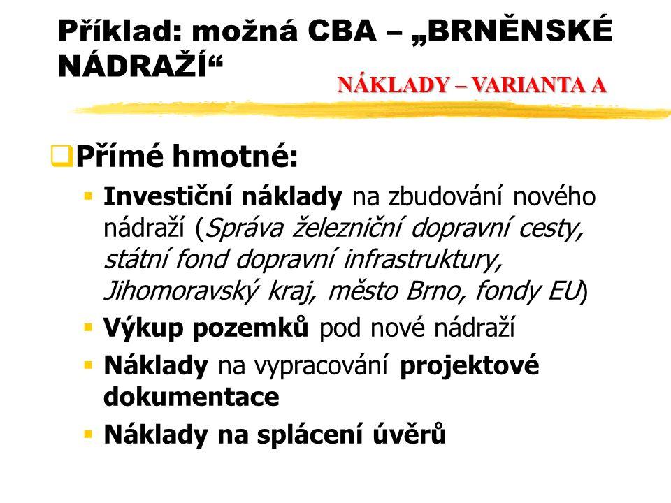 """ Přímé hmotné:  Investiční náklady na zbudování nového nádraží (Správa železniční dopravní cesty, státní fond dopravní infrastruktury, Jihomoravský kraj, město Brno, fondy EU)  Výkup pozemků pod nové nádraží  Náklady na vypracování projektové dokumentace  Náklady na splácení úvěrů Příklad: možná CBA – """"BRNĚNSKÉ NÁDRAŽÍ NÁKLADY – VARIANTA A"""