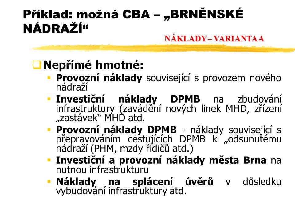  Nepřímé hmotné:  Provozní náklady související s provozem nového nádraží  Investiční náklady DPMB na zbudování infrastruktury (zavádění nových line