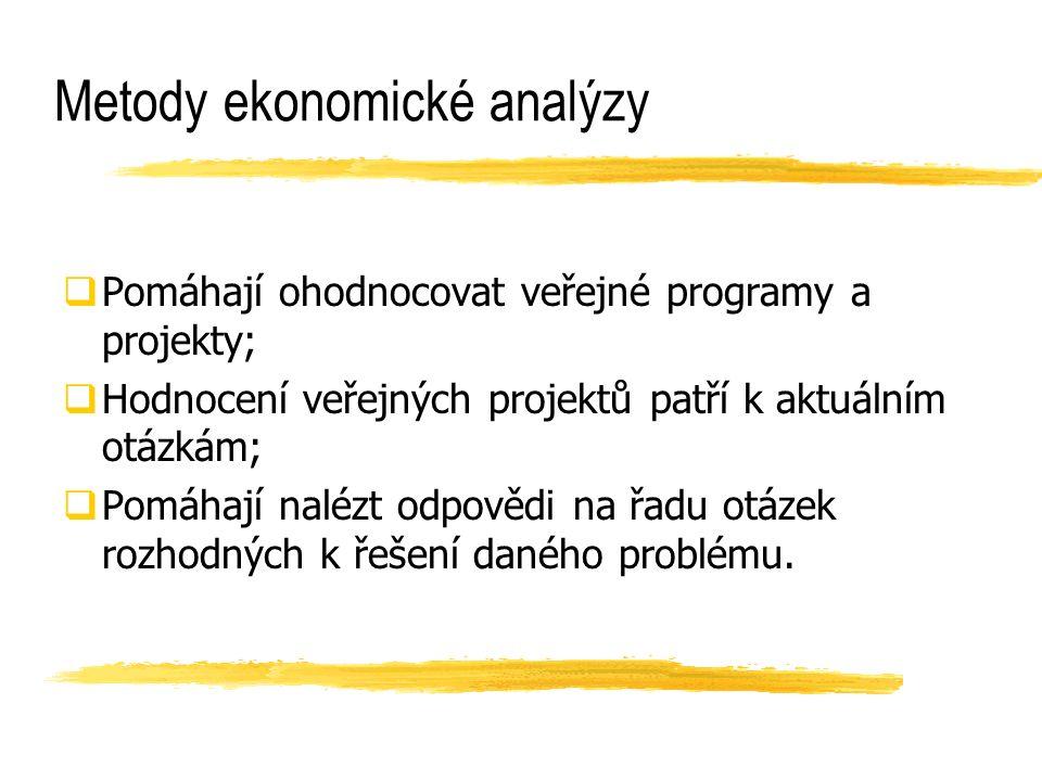 Metody ekonomické analýzy  Pomáhají ohodnocovat veřejné programy a projekty;  Hodnocení veřejných projektů patří k aktuálním otázkám;  Pomáhají nal
