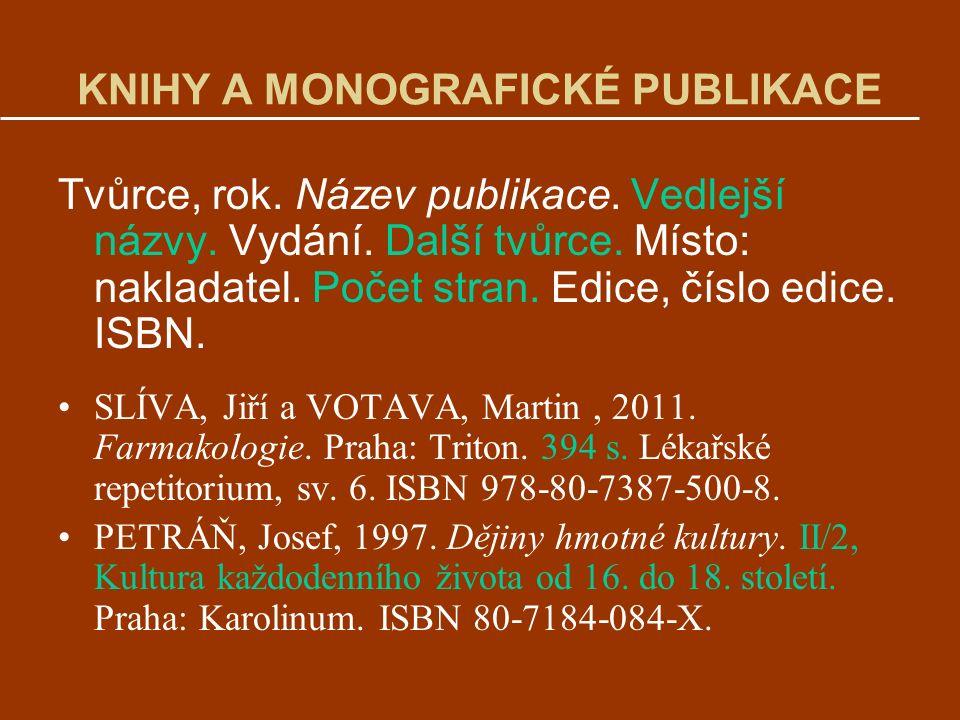 KNIHY A MONOGRAFICKÉ PUBLIKACE Tvůrce, rok.Název publikace.