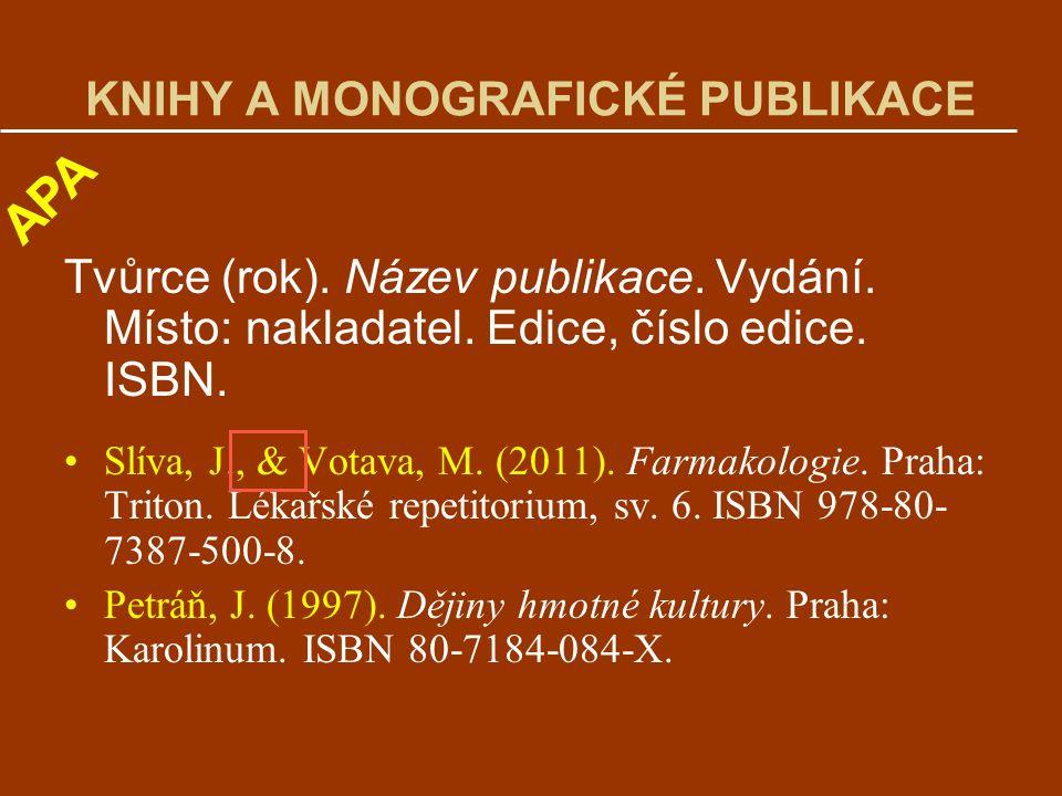 KNIHY A MONOGRAFICKÉ PUBLIKACE Tvůrce (rok).Název publikace.