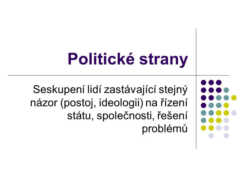 Politické strany Seskupení lidí zastávající stejný názor (postoj, ideologii) na řízení státu, společnosti, řešení problémů