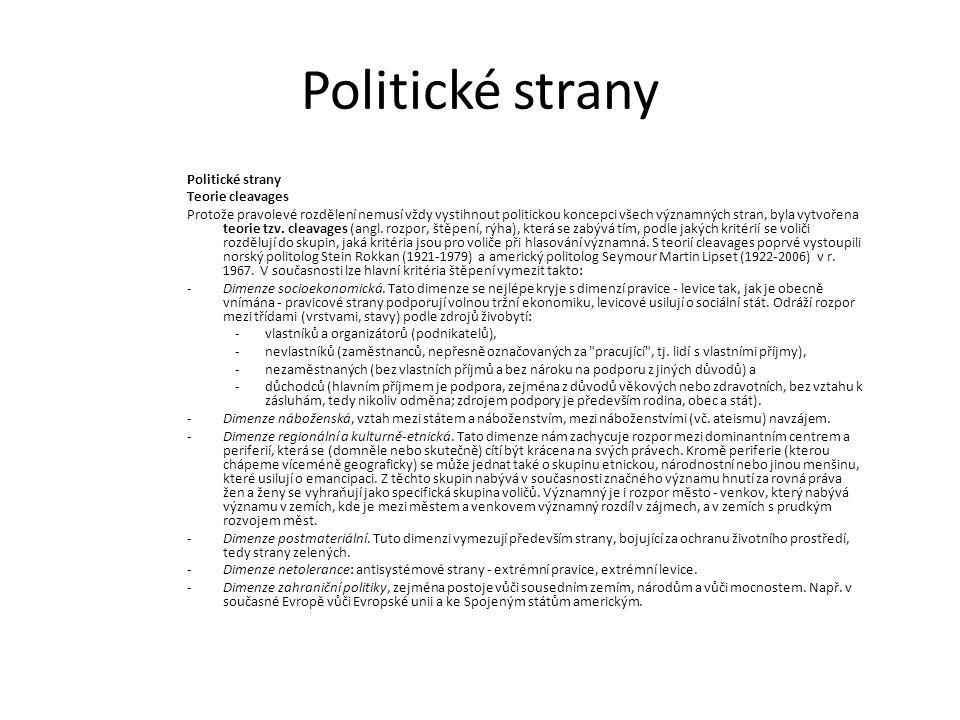 Politické strany Teorie cleavages Protože pravolevé rozdělení nemusí vždy vystihnout politickou koncepci všech významných stran, byla vytvořena teorie tzv.