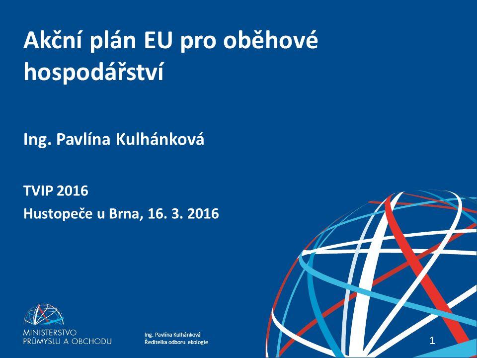 Ing. Pavlína Kulhánková Ředitelka odboru ekologie Akční plán EU pro oběhové hospodářství 11 Ing.