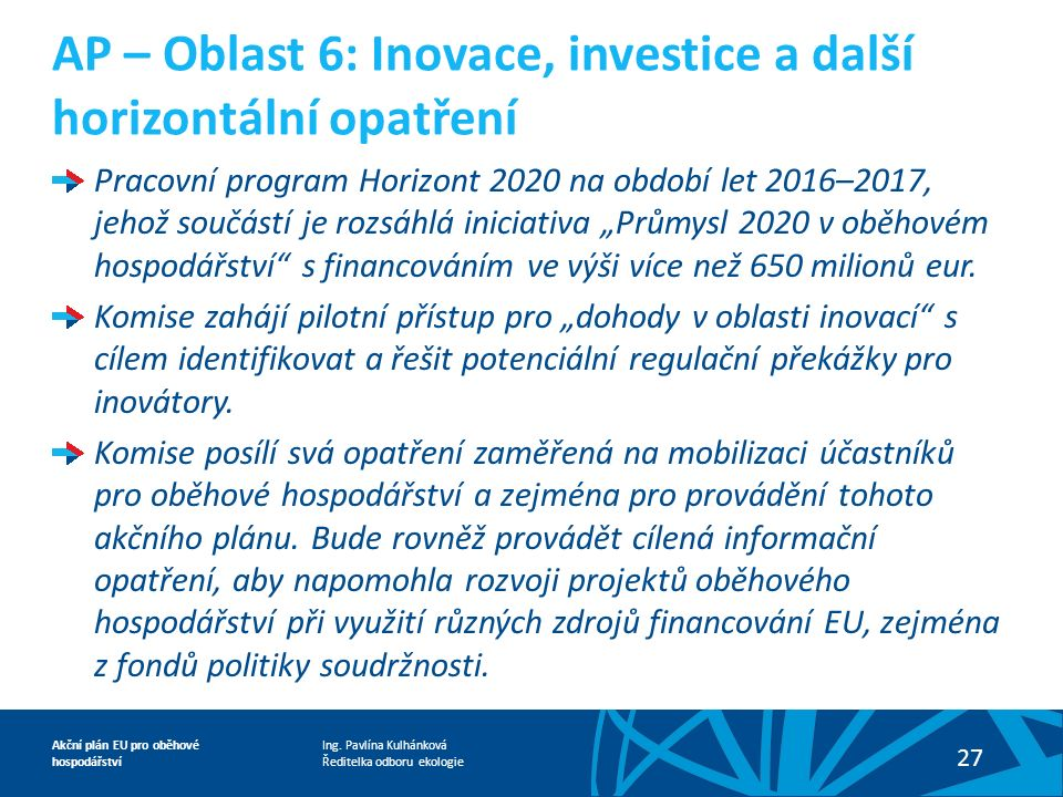 Ing. Pavlína Kulhánková Ředitelka odboru ekologie Akční plán EU pro oběhové hospodářství 27 Pracovní program Horizont 2020 na období let 2016–2017, je