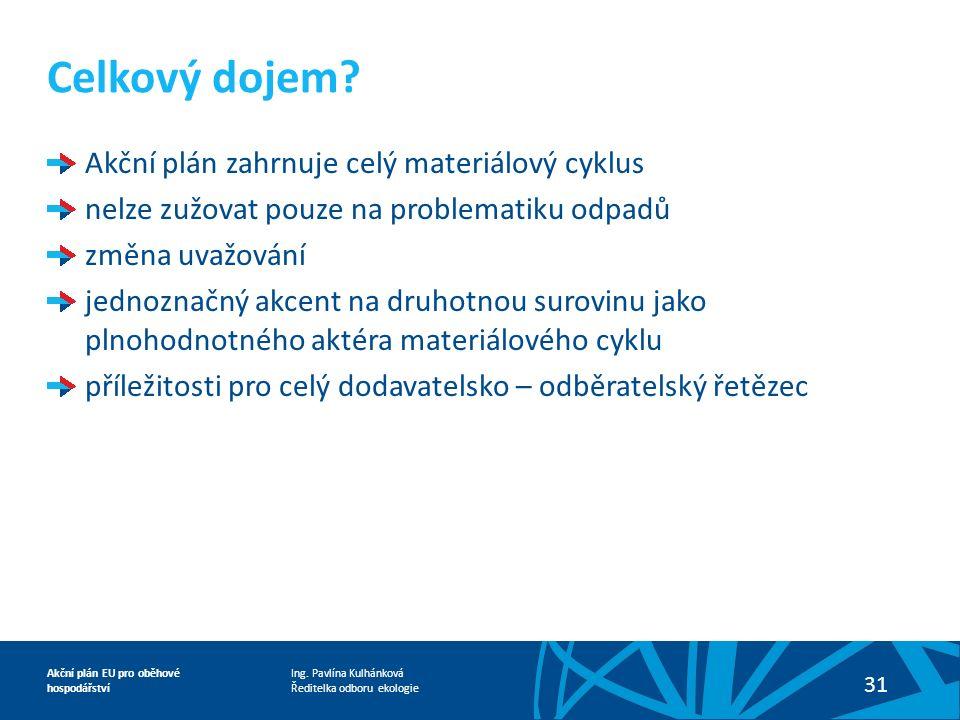 Ing. Pavlína Kulhánková Ředitelka odboru ekologie Akční plán EU pro oběhové hospodářství 31 Akční plán zahrnuje celý materiálový cyklus nelze zužovat