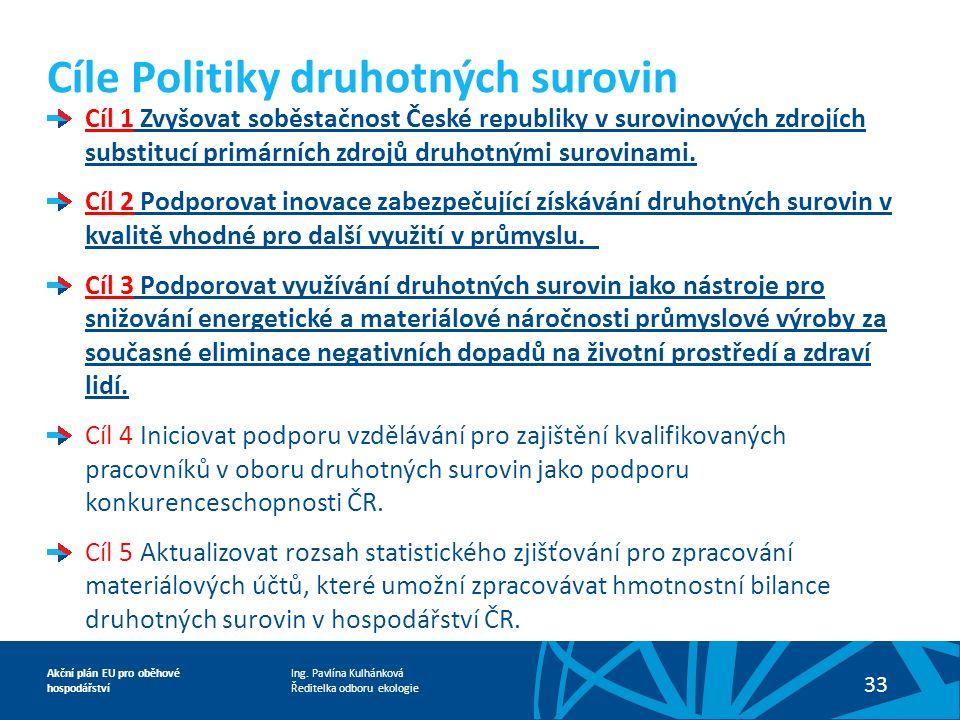 Ing. Pavlína Kulhánková Ředitelka odboru ekologie Akční plán EU pro oběhové hospodářství 33 Cíle Politiky druhotných surovin Cíl 1 Zvyšovat soběstačno