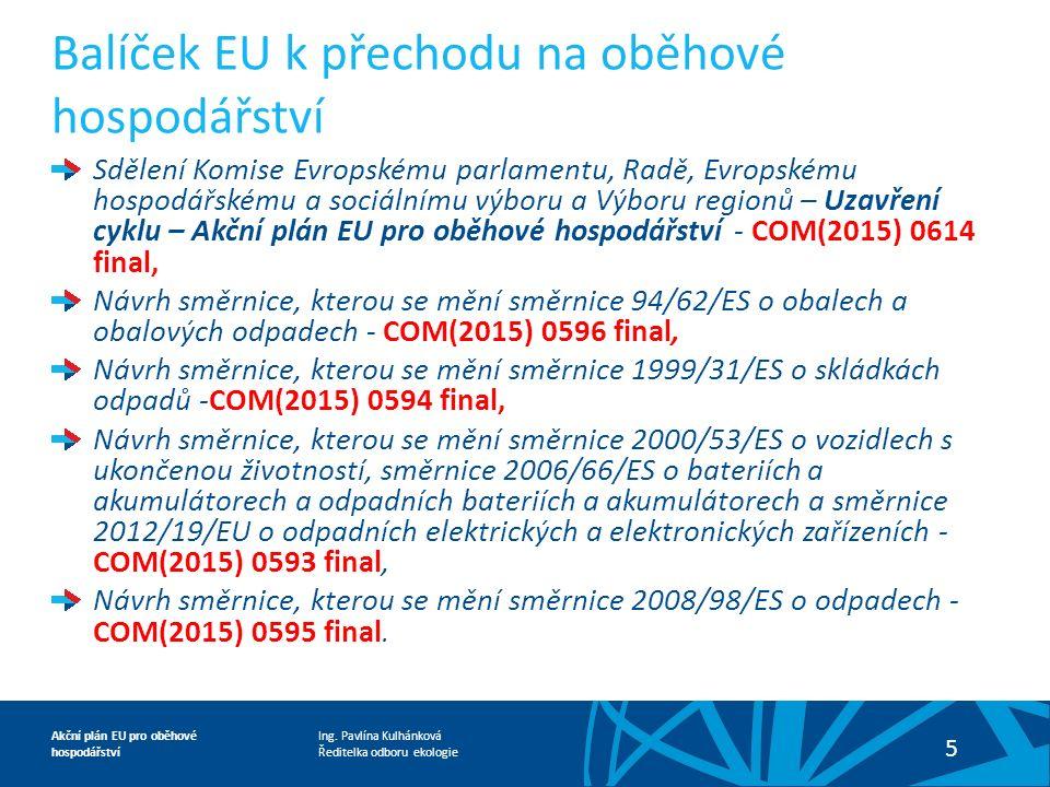 Ing. Pavlína Kulhánková Ředitelka odboru ekologie Akční plán EU pro oběhové hospodářství 5 Sdělení Komise Evropskému parlamentu, Radě, Evropskému hosp