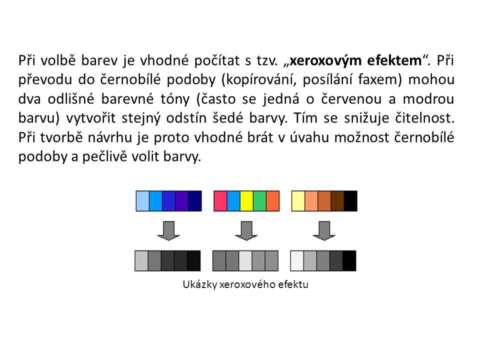 """Při volbě barev je vhodné počítat s tzv. """"xeroxovým efektem ."""