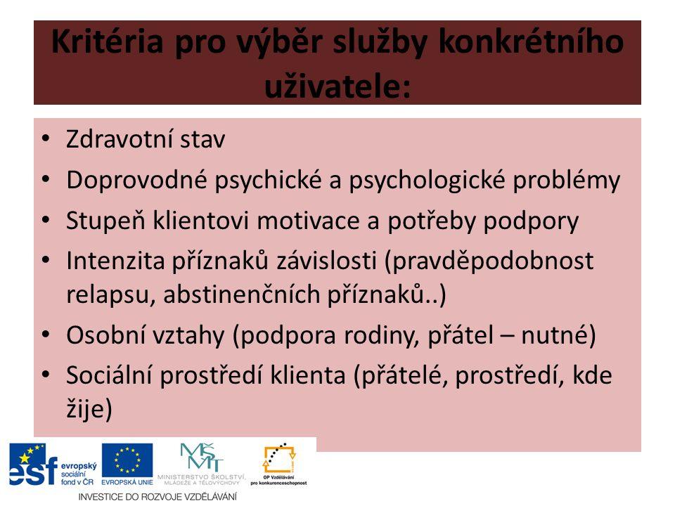 Kritéria pro výběr služby konkrétního uživatele: Zdravotní stav Doprovodné psychické a psychologické problémy Stupeň klientovi motivace a potřeby podpory Intenzita příznaků závislosti (pravděpodobnost relapsu, abstinenčních příznaků..) Osobní vztahy (podpora rodiny, přátel – nutné) Sociální prostředí klienta (přátelé, prostředí, kde žije)