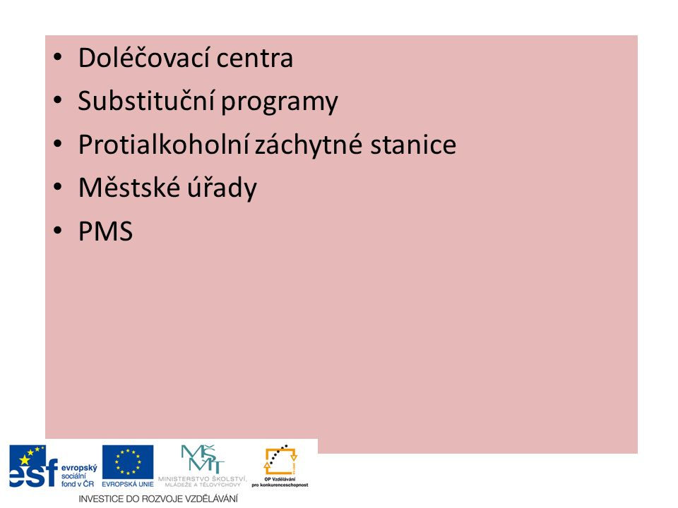 Doléčovací centra Substituční programy Protialkoholní záchytné stanice Městské úřady PMS