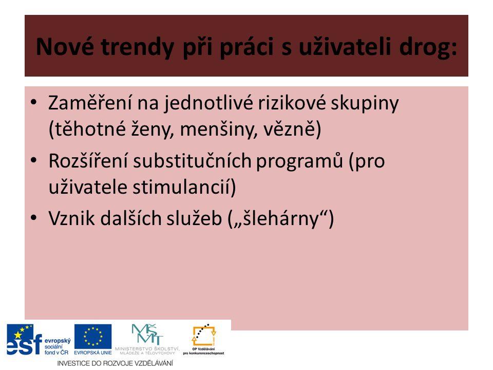 """Nové trendy při práci s uživateli drog: Zaměření na jednotlivé rizikové skupiny (těhotné ženy, menšiny, vězně) Rozšíření substitučních programů (pro uživatele stimulancií) Vznik dalších služeb (""""šlehárny )"""