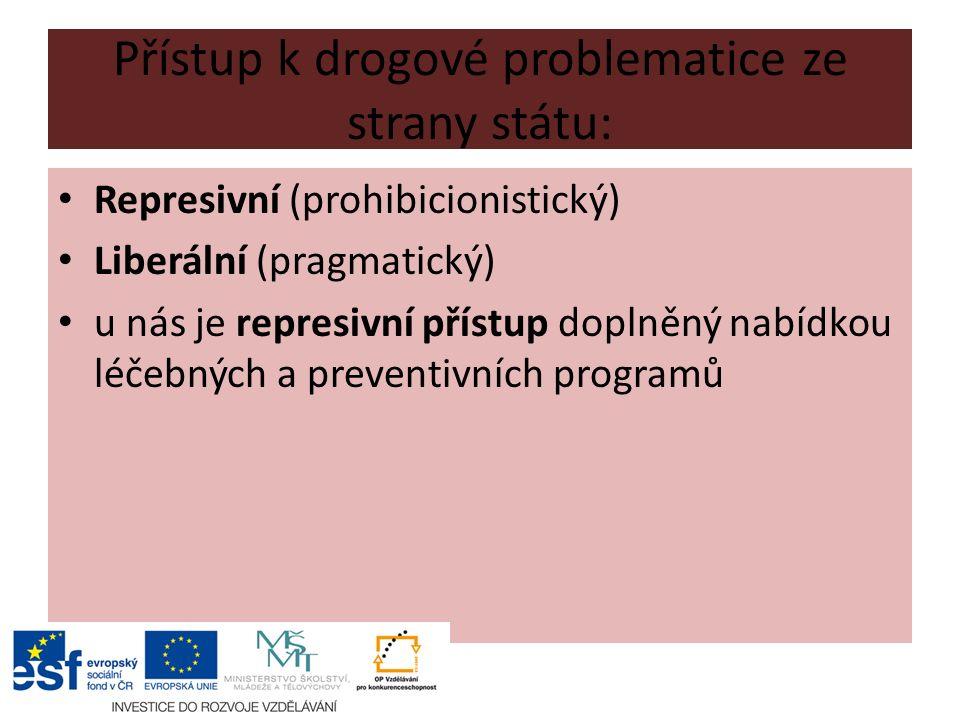 Přístup k drogové problematice ze strany státu: Represivní (prohibicionistický) Liberální (pragmatický) u nás je represivní přístup doplněný nabídkou léčebných a preventivních programů
