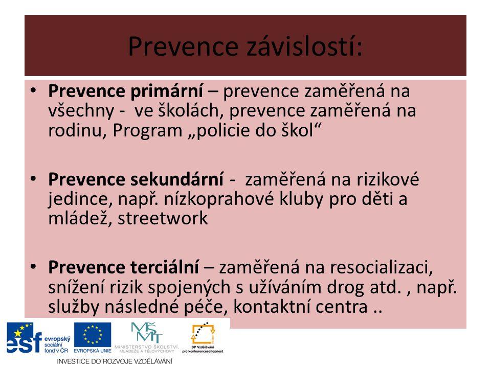 """Prevence závislostí: Prevence primární – prevence zaměřená na všechny - ve školách, prevence zaměřená na rodinu, Program """"policie do škol Prevence sekundární - zaměřená na rizikové jedince, např."""