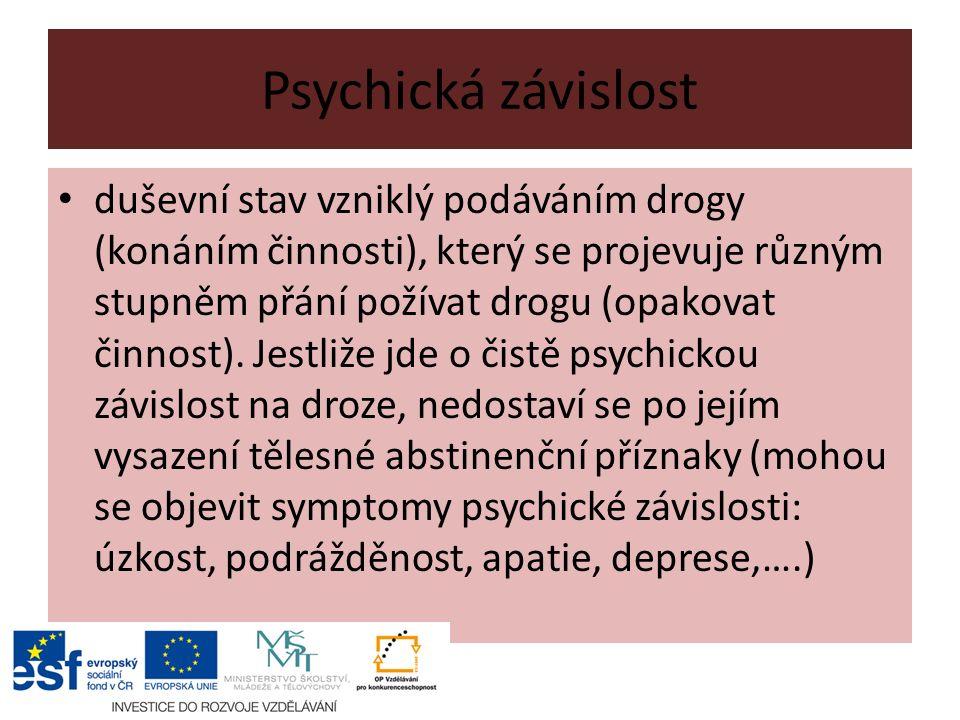 Psychická závislost duševní stav vzniklý podáváním drogy (konáním činnosti), který se projevuje různým stupněm přání požívat drogu (opakovat činnost).