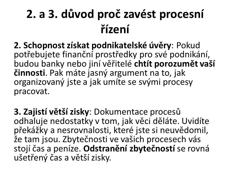 2. a 3. důvod proč zavést procesní řízení 2. Schopnost získat podnikatelské úvěry: Pokud potřebujete finanční prostředky pro své podnikání, budou bank