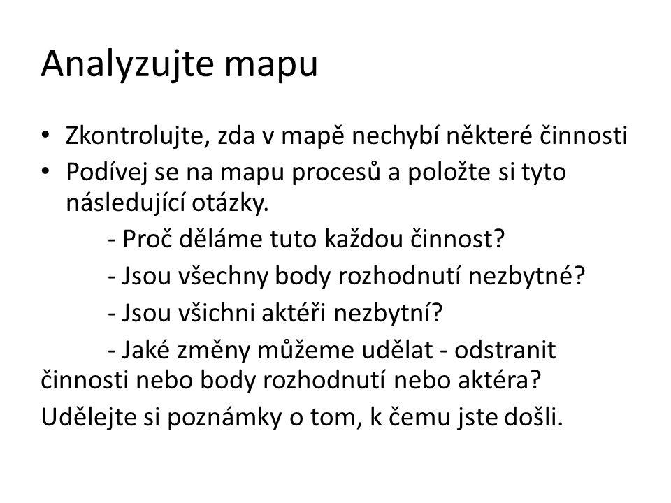 Analyzujte mapu Zkontrolujte, zda v mapě nechybí některé činnosti Podívej se na mapu procesů a položte si tyto následující otázky. - Proč děláme tuto