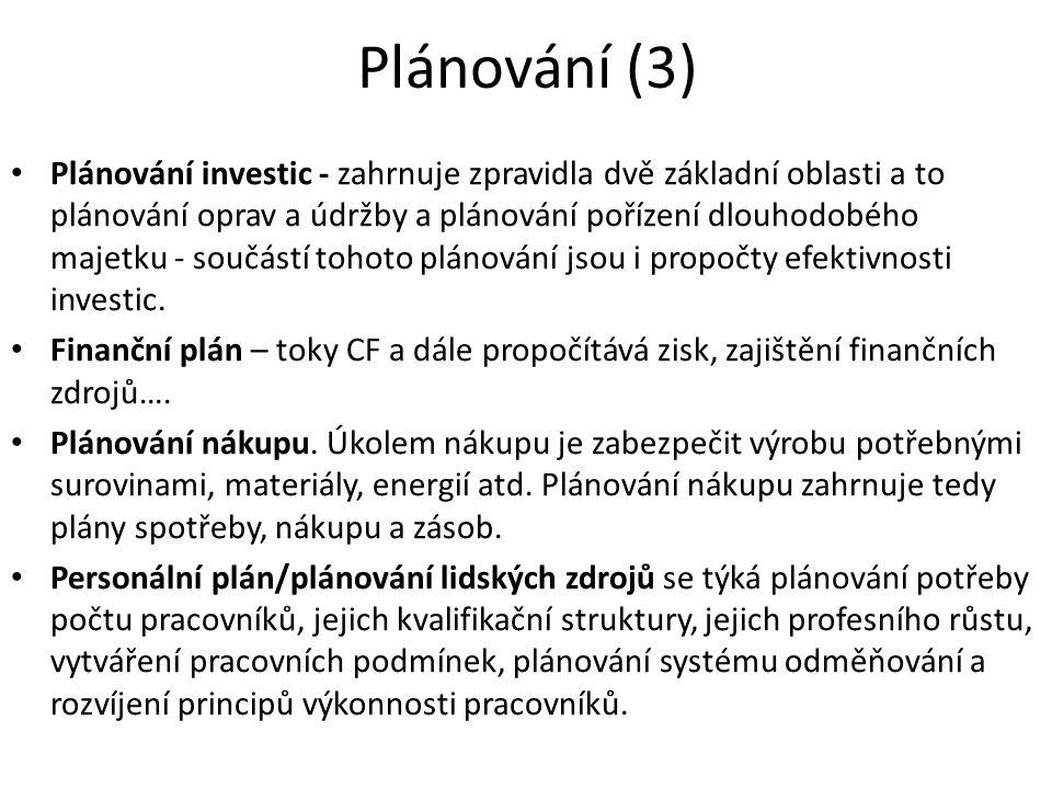 Plánování (3) Plánování investic - zahrnuje zpravidla dvě základní oblasti a to plánování oprav a údržby a plánování pořízení dlouhodobého majetku - součástí tohoto plánování jsou i propočty efektivnosti investic.