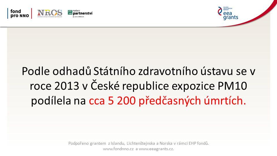Podle odhadů Státního zdravotního ústavu se v roce 2013 v České republice expozice PM10 podílela na cca 5 200 předčasných úmrtích.