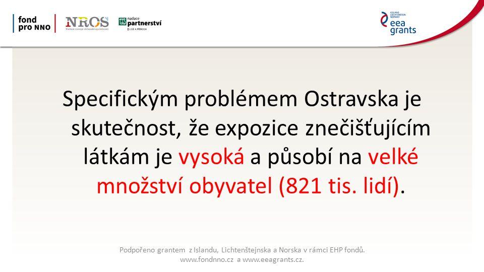 Specifickým problémem Ostravska je skutečnost, že expozice znečišťujícím látkám je vysoká a působí na velké množství obyvatel (821 tis.