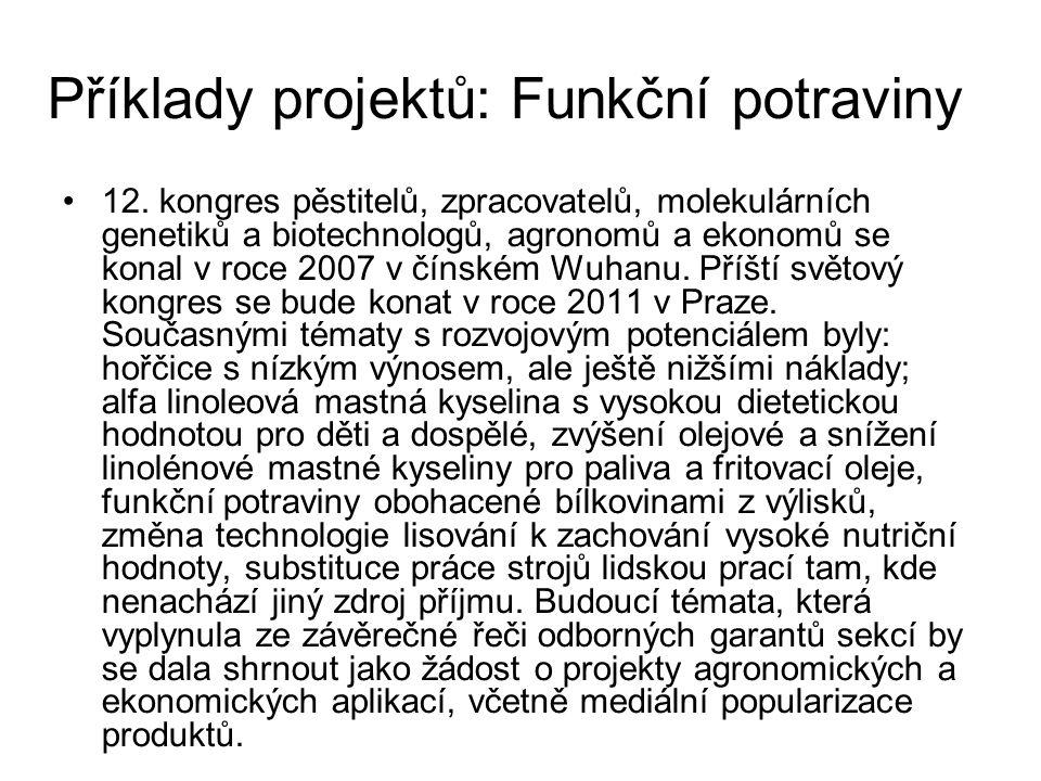 Příklady projektů: Funkční potraviny 12.