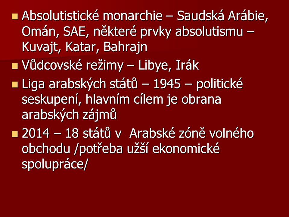 Absolutistické monarchie – Saudská Arábie, Omán, SAE, některé prvky absolutismu – Kuvajt, Katar, Bahrajn Absolutistické monarchie – Saudská Arábie, Omán, SAE, některé prvky absolutismu – Kuvajt, Katar, Bahrajn Vůdcovské režimy – Libye, Irák Vůdcovské režimy – Libye, Irák Liga arabských států – 1945 – politické seskupení, hlavním cílem je obrana arabských zájmů Liga arabských států – 1945 – politické seskupení, hlavním cílem je obrana arabských zájmů 2014 – 18 států v Arabské zóně volného obchodu /potřeba užší ekonomické spolupráce/ 2014 – 18 států v Arabské zóně volného obchodu /potřeba užší ekonomické spolupráce/