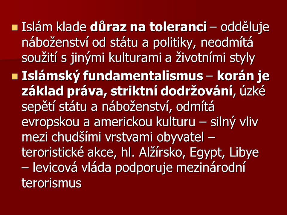Islám klade důraz na toleranci – odděluje náboženství od státu a politiky, neodmítá soužití s jinými kulturami a životními styly Islám klade důraz na toleranci – odděluje náboženství od státu a politiky, neodmítá soužití s jinými kulturami a životními styly Islámský fundamentalismus – korán je základ práva, striktní dodržování, úzké sepětí státu a náboženství, odmítá evropskou a americkou kulturu – silný vliv mezi chudšími vrstvami obyvatel – teroristické akce, hl.
