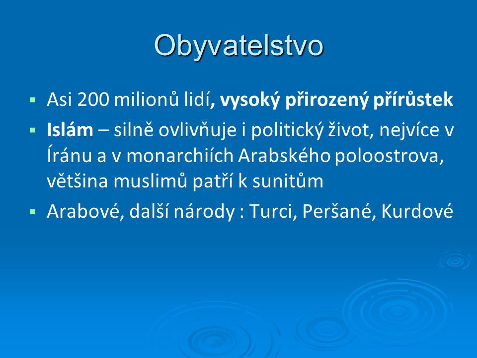 Obyvatelstvo   Asi 200 milionů lidí, vysoký přirozený přírůstek   Islám – silně ovlivňuje i politický život, nejvíce v Íránu a v monarchiích Arabského poloostrova, většina muslimů patří k sunitům   Arabové, další národy : Turci, Peršané, Kurdové