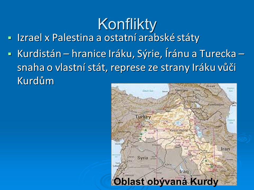 Konflikty  Izrael x Palestina a ostatní arabské státy  Kurdistán – hranice Iráku, Sýrie, Íránu a Turecka – snaha o vlastní stát, represe ze strany Iráku vůči Kurdům Oblast obývaná Kurdy