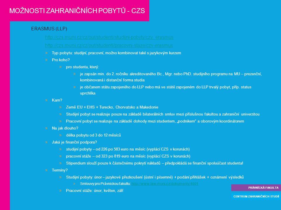 ERASMUS (LLP) http://czs.muni.cz/cz/out/studenti/studijni-pobyty/czv_erasmus http://czs.muni.cz/cz/out/studenti/pracovni-staze/czv-erasmus  Typ pobytu: studijní, pracovní, možno kombinovat také s jazykovým kurzem  Pro koho.