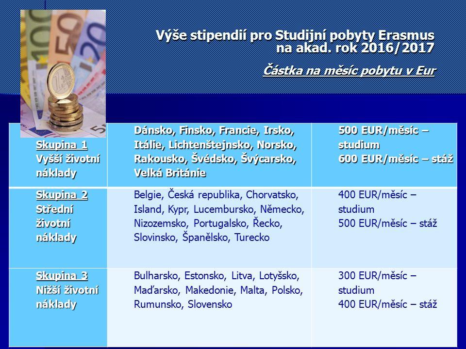 Výše stipendií pro Studijní pobyty Erasmus na akad. rok 2016/2017 Částka na měsíc pobytu v Eur Skupina 1 Vyšší životní náklady Dánsko, Finsko, Francie