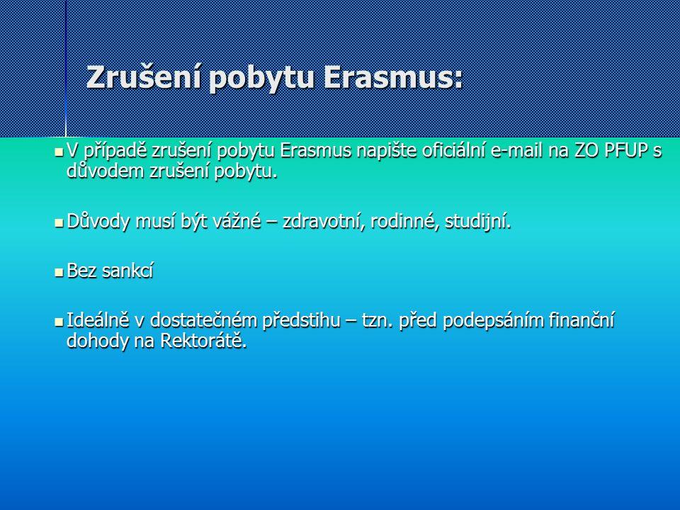 Zrušení pobytu Erasmus: V případě zrušení pobytu Erasmus napište oficiální e-mail na ZO PFUP s důvodem zrušení pobytu. V případě zrušení pobytu Erasmu