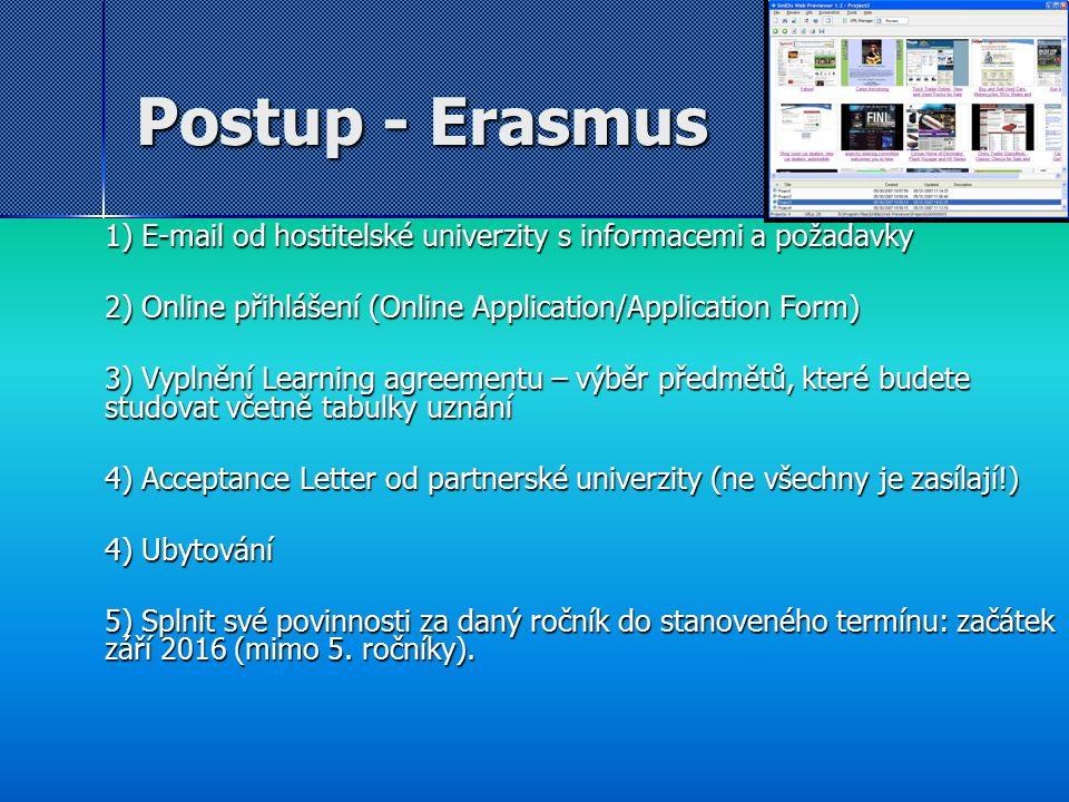 Postup - Erasmus 1) E-mail od hostitelské univerzity s informacemi a požadavky 2) Online přihlášení (Online Application/Application Form) 3) Vyplnění