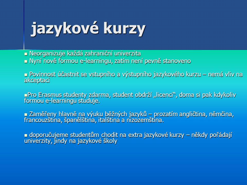 """jazykové kurzy Neorganizuje každá zahraniční univerzita Neorganizuje každá zahraniční univerzita Nyní nově formou e-learningu, zatím není pevně stanoveno Nyní nově formou e-learningu, zatím není pevně stanoveno Povinnost účastnit se vstupního a výstupního jazykového kurzu – nemá vliv na akceptaci Povinnost účastnit se vstupního a výstupního jazykového kurzu – nemá vliv na akceptaci Pro Erasmus studenty zdarma, student obdrží """"licenci , doma si pak kdykoliv formou e-learningu studuje."""