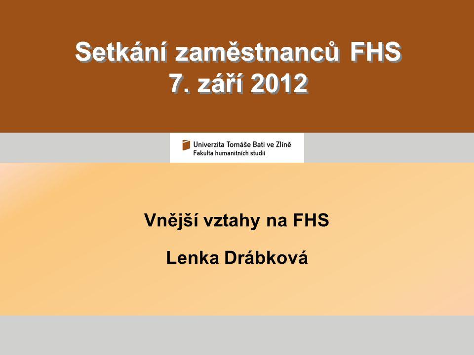 Setkání zaměstnanců FHS 7. září 2012 Vnější vztahy na FHS Lenka Drábková